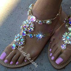 da7379c5570 Shoespie Rhinestones Chains Flat Sandals. Rhinestone Sandals FlatsSparkly  ...