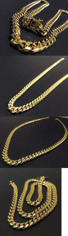 Chains Necklaces and Pendants 137839: Men Cuban Miami Link Bracelet And Chain Set Stainless Steel 14K Gold Plated -> BUY IT NOW ONLY: $99.98 on eBay!