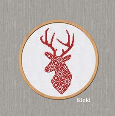 Cross Stitch Pattern Red Head Deer Instant Download by TinyNeedle