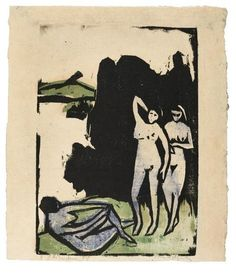 Ernst Ludwig Kirchner, Drei Badende (Three Bathers) on ArtStack #ernst-ludwig-kirchner #art