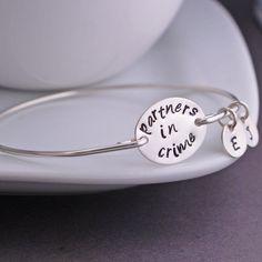 Partners in Crime Bracelet,  Best Friend Jewelry, Personalized BFF Bracelet by georgiedesigns