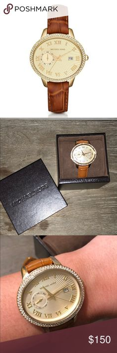 NWT Micheal Kors Watch Brand New, Never worn —Micheal Kors watch, that goes with everything! It's an Oval face watch with crystal accents and leather straps!! Comes in original box with tags! Michael Kors Accessories Watches