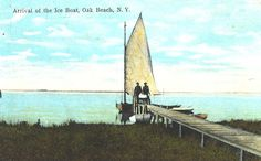 Postcard, Arrival of the Ice Boat at Oak Beach, Long Island, New York (credit: University Archives, Stony Brook University).