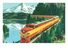 California - Southern Pacific Daylight Train Passing Mt. Shasta.