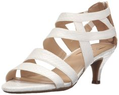 Aerosoles Women's Masquerade Dress Sandal, White Snake, 7 M US. Strappy dress sandal in snake-textured faux leather featuring molded mid-height heel. Rear zip entry. Heel Rest Technology. Double-padded memory foam insole with sueded sock.