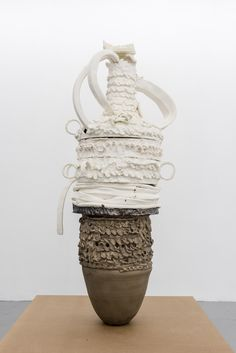 "Nicole Cherubini, ""Earth Pot #9, 3 Fates"" (2015), earthenware, glaze, bronze, medium-density fiberboard (MDF), 58 x 25 x 27 inches"