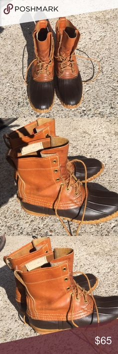 LL Bean Duck Boots Size 6 Narrow LL Bean Duck Boots, Size 6 Narrow, lace up the front , made in the USA, Water proof, rubber soles, vintage, pictures are part of the description. L.L. Bean Shoes Ankle Boots & Booties
