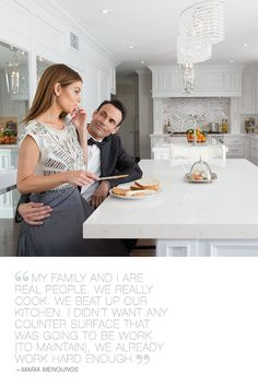 Maria Menounos Cambria Countertop Behind the Scenes Cambria Countertops, Cambria Quartz, Maria Menounos, Kitchen Chandelier, Home Upgrades, Custom Cabinetry, Kitchen Styling, Home Interior Design, Kitchen Design