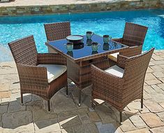 Suncrown Outdoor Furniture AllWeather Wicker Round Dining Table and Chairs Set Washable Cushions Patio Backyard Porch Garden Poolside Tempered Glass Tabletop Modern Design >>> See this great product. (This is an affiliate link ). Wicker Table And Chairs, Wicker Dining Chairs, Outdoor Dining Furniture, Outdoor Dining Set, Patio Furniture Sets, Outdoor Living, Outdoor Decor, Wicker Furniture, Patio Dining Sets