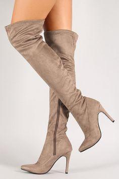 Breckelle Vegan Suede Stiletto Over-The-Knee Boot