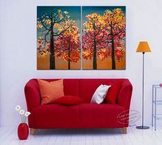 Sunset Fall Natural Decor, HUGE contemporary Abstract landscape Fine ART Original  Oil Painting  Forest 48x36. $315.00, via Etsy.
