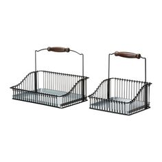 FINTORP Wire basket with handle, set of 2 IKEA Can be hung on FINTORP rail using FINTORP hooks, or kept freestanding on the table. Hung in kitchen for fruit? Kitchen Wall Storage, Ikea Kitchen, Kitchen Gadgets, Kitchen Small, Kitchen Organization, Kitchen Decor, Wire Baskets, Baskets On Wall, Hanging Baskets