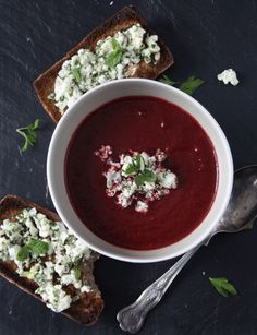 Spiced Beetroot Soup with Herb Spiked Feta on Rye Crostini