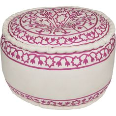 Lovely white Akua pouf with bright pink floral embroidery (AKPF-001) - available from Surya.