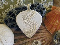 Sculpted porcelain pendant  Sea coral inspired White