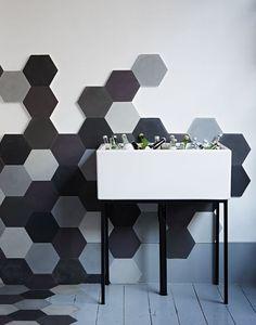 Drinks basin against geometric tiled wall Interior design by anafosteradams.com