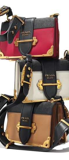 Prada Cahier Leather Shoulder Bag - Prada Wallets - Ideas of Prada Wallets - Keep your secrets safe with the new notebook handbag by Prada. This smooth leather shoulder bag is complete with bronze hardware and a buckle closure. Prada Handbags, Fashion Handbags, Purses And Handbags, Fashion Bags, Women's Fashion, Fashion Design, Beautiful Handbags, Beautiful Bags, Luxury Bags