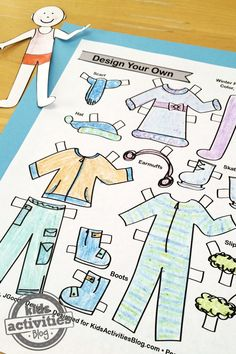 Color and design your own paper doll with winter clothing like an ice skating outfit or some cozy pajamas with fuzzy slippers!