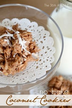 No-Bake Coconut Cookies Recipe by the36thavenue.com Yum!    #recipe #cookies