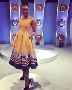 What Unathi rocked on the upcoming Zaziwa show. Xhosa Attire, African Attire, African Wear, African Women, African Print Dresses, African Fashion Dresses, African Dress, African Prints, African Outfits