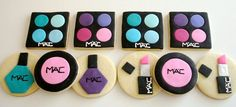 MAC makeup and nail polish cookies in bright pinks, blues and purples. Cute for a Makeup party! Fancy Cookies, Iced Cookies, Cute Cookies, Cupcake Cookies, Sugar Cookies, Fondant Cookies, Polish Cookies, Fashion Cupcakes, Makeup Themes