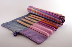 Pencil Roll Pencil Case Denim and Pink Rainbow by ZiezoDesigns, $12.00