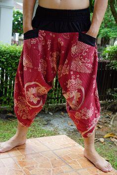 New arrival Samurai pants, Handmade pants, men's fashion, unisex Yoga Harem Pants - elastic waistband by IndycraftsDesigns on Etsy Samurai Pants, Samurai Outfit, Short Outfits, Cute Outfits, Samurai Clothing, Yoga Harem Pants, Style Inspiration, Character Inspiration, Character Design
