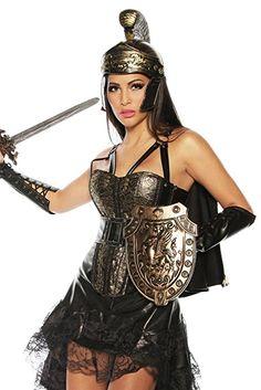 Gladiator Kostüm (3tlg.) - Karneval Faschingskostüm Römerin Set mit Corsage und Helm Gr. XS - XXL (13738) (XS)