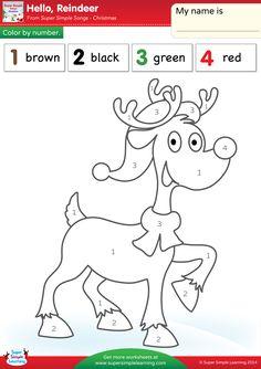 Hello, Reindeer Worksheet - Color By Number - Super Simple Christmas Color By Number, Christmas Colors, Winter Christmas, Christmas Themes, Kids Christmas, Christmas Crafts, Preschool Christmas, Christmas Activities, Preschool Crafts