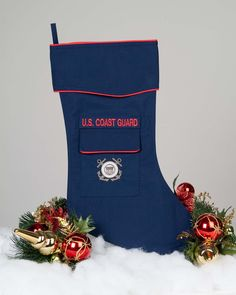 The Coast Guard stocking is crafted in the Coast Guard Blue uniform fabric. It's trimmed in scarlet piping and features a Coast Guard art logo embroidered on the stockings pocket. This beautiful stock Coast Guard Girlfriend, Coast Guard Wife, Coast Guard Boot Camp, Christmas Care Package, Military Crafts, Welcome Home Parties, Nautical Party, Diy Gifts For Boyfriend, Christmas Stockings