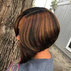 60 Showiest Bob Haircuts for Black Women. Black Bob with Caramel Highlights Caramel is one of the prettiest colors to see . Black Side Parted Angled Bob Short Weave Hairstyles, Black Bob Hairstyles, Protective Hairstyles, Hairstyles Haircuts, Bob Haircuts, Wedding Hairstyles, Celebrity Hairstyles, Trendy Hairstyles, Hairstyles Pictures