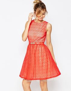 Little+Mistress+Skater+Dress+with+Lace+Overlay