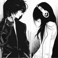 I love those anime people with headphones and hoodies! Manga Anime, Anime Art, Manga Love, Anime Love, Manga Drawing, Manga Art, Kawaii Cute, Kawaii Anime, Sad Anime Couples