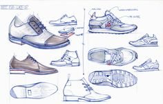 Footwear by Aaron Street at Coroflot.com Sneakers Fashion, Fashion Shoes, Men's Fashion, Sneakers Sketch, Shoe Sketches, Industrial Design Sketch, Shoe Pattern, Nike Shoes Outlet, Designs To Draw