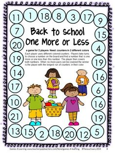 Back to School Math Games First Grade by Games 4 Learning - 14 printable games that review a variety of kindergarten skills. $