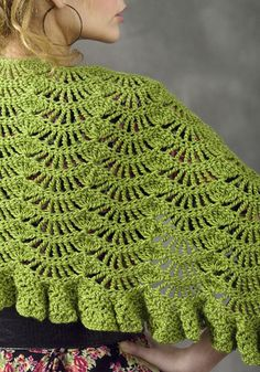 The Toulouse Wrap - free crochet pattern - I love this wavy stitch ending with ruffles!