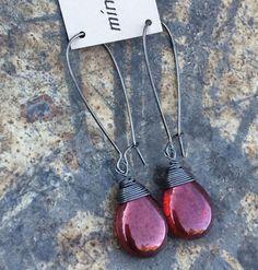 Min Favorit Czech Red Hyacinth Glass Teardrop & Hematite Long Artisan Earrings #minfavorit #DropDangle