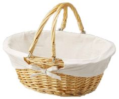 43% Off was $35.00, now is $19.99! Oval Willow Basket with Fabric Lining and Double Drop-down Handles + Free Shipping