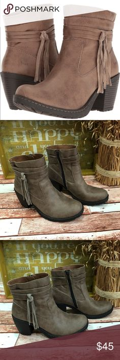 """🍁B•O•C taupe tasseled chunky BOHO ankle booties 🍁B•O•C taupe tasseled chunky BOHO ankle booties  Fabulous boots for winter Perfectly comfy for all day wear Side zip entry  Office or a date night  Rubber soles;  Vegan upper Preloved in excellent condition Boot shaft 7 inches Heel height 3 inches Opening 5.5""""  Front support half an inch for added comfort  Thank you for looking in our closet Please feel free to check out our other listings b.o.c. Shoes Ankle Boots & Booties"""
