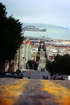 View from Nob Hill looking toward Alcatraz, San Francisco, California San Francisco City, San Francisco Travel, San Francisco California, California Dreamin', Piedmont California, Northern California, San Diego, Las Vegas, Christophe Jacrot