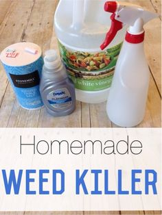 Tired of weeds? Try out this cheap & easy DIY weed killer. Easily kills off grass and weeds on sidewalks, gardens, and driveways. Say goodbye to weeds for good with this simple homemade weed killer.