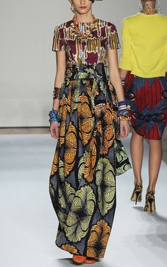 Printed Wax Cotton Long Skirt by Stella Jean for Preorder on Moda Operandi