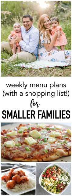 Weekly menu plans with a shopping list that feed families of 2-4!