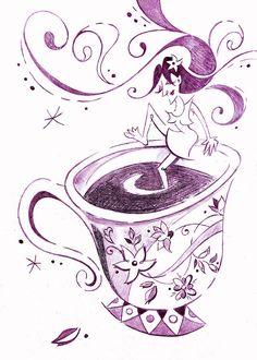 I Love Coffee Illustration - Arte Caffe Drawing by Arte Venezia