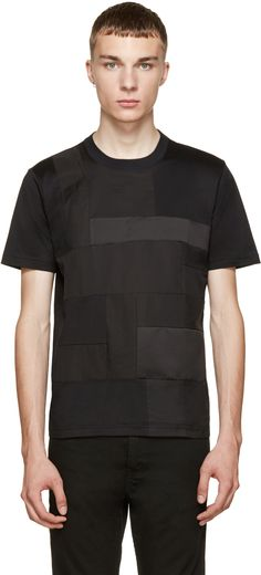 Junya Watanabe: Black Satin Patchwork T-Shirt | SSENSE