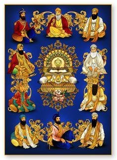 This beautiful artwork of the Sikh Gurus captures both traditional elements and the new creative presence of London based artist Vik Kainth in beautiful blue tones in the background and colorful elements inspired by the Sikh Gurus, from Guru Nanak. Guru Angad Dev Ji, Guru Nanak Ji, Nanak Dev Ji, Sai Baba Hd Wallpaper, New Wallpaper, Guru Nanak Teachings, Guru Tegh Bahadur, Maharaja Ranjit Singh, Guru Nanak Wallpaper