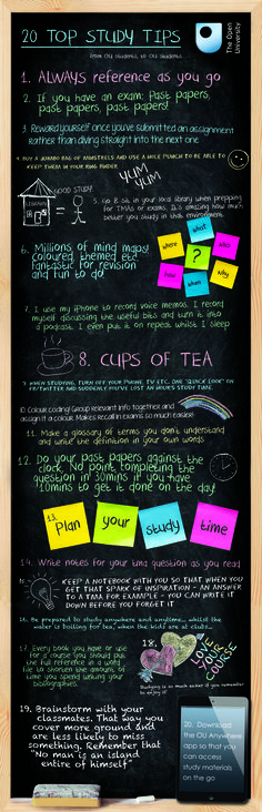 20 Top Study Tips - from OU students, to OU students (would love to create a fun flier like this that's specific to CC)