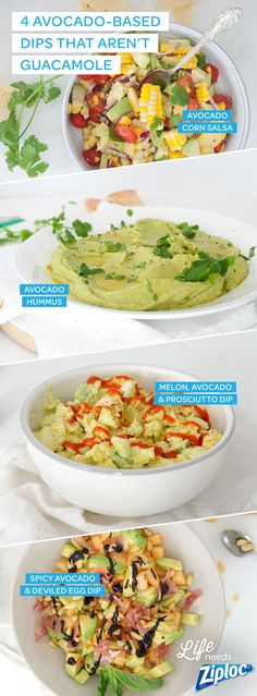 Love these different avocado recipes! Perfect for when you want something other than guacamole! Avocado-corn salsa, avocado hummus, spicy avocado and deviled egg dip and melon and avo dip with prosciutto! So different and tasty! Perfect for any kind of party.