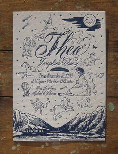 Moonlight Constellations Custom Design Letterpress Birth Announcement