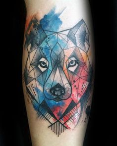 Cool Watercolor Geometric Wolf Mens Arm Tattoo Designs